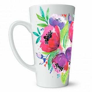 Кружка Букет цветов кофейная / высокая