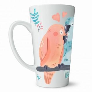 Кружка Попугаи кофейная / высокая