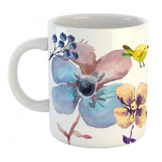 Кружка голубые цветы