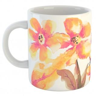 Кружка персиковые цветы белая
